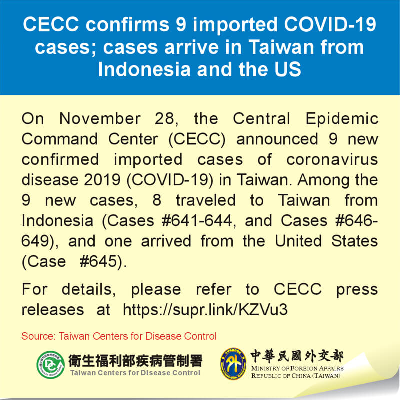 CECC confirms 9 imported COVID-19 cases; cases arrive in Taiwan from Indonesia and the US