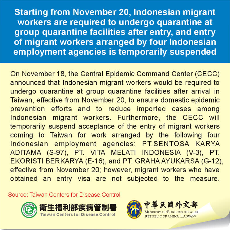 Starting from November 20, Indonesian migrant workers are required to undergo quarantine at group quarantine facilities after entry