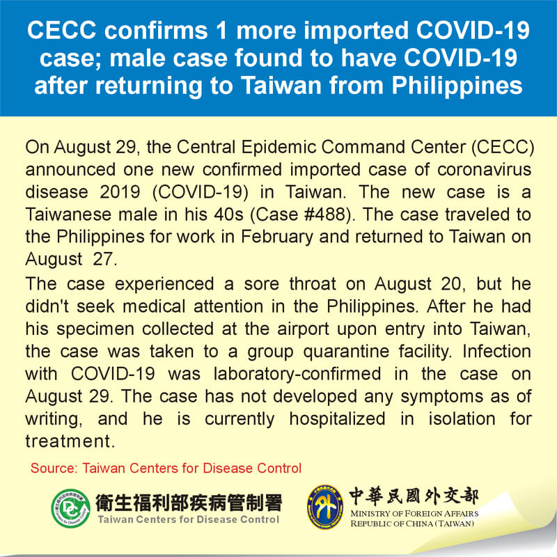 CECC confirms 1 more imported COVID-19 case; male case found to have COVID-19 after returning to Taiwan from Philippines