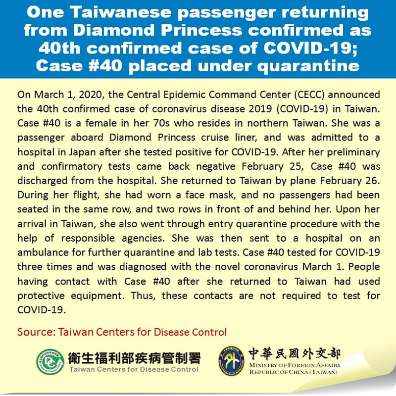 One Taiwanese passenger returning from Diamond Princess confirmed as 40th confirmed case of COVID-19; Case #40 placed under quarantine