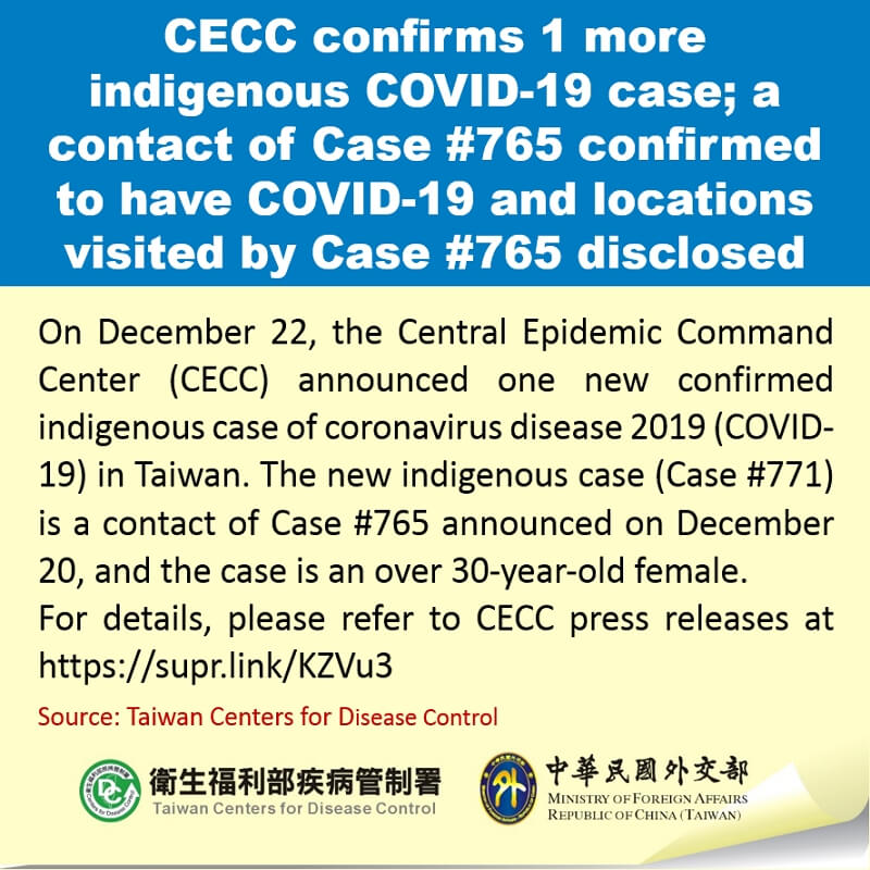 CECC confirms 1 more indigenous COVID-19 case; a contact of Case #765 confirmed to have COVID-19 and locations visited by Case #765 disclosed