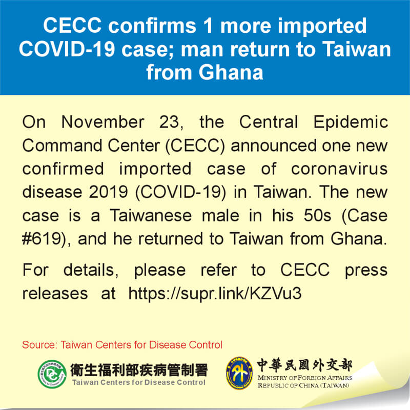 CECC confirms 1 more imported COVID-19 case; man return to Taiwan from Ghana
