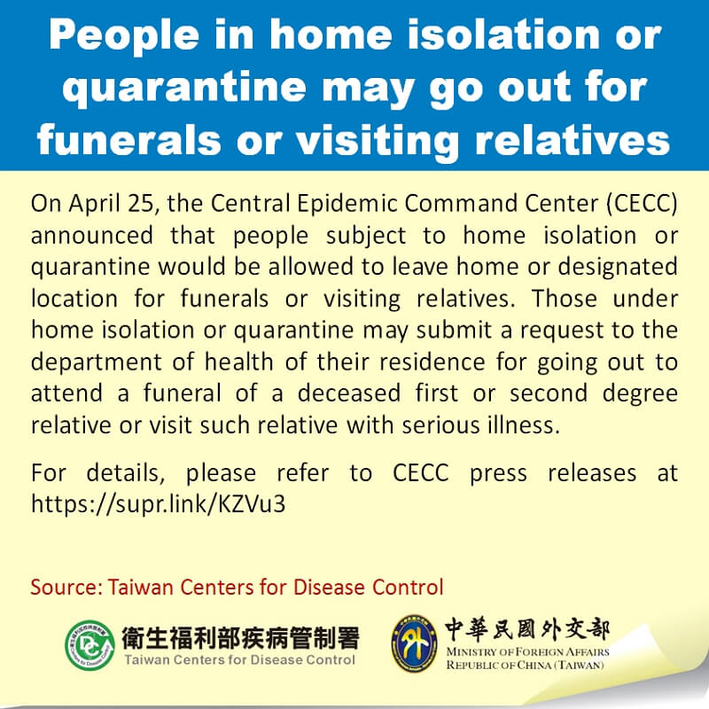 People in home isolation or quarantine may go out for funerals or visiting relatives