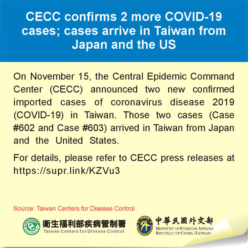 CECC confirms 2 more COVID-19 cases; cases arrive in Taiwan from Japan and the US