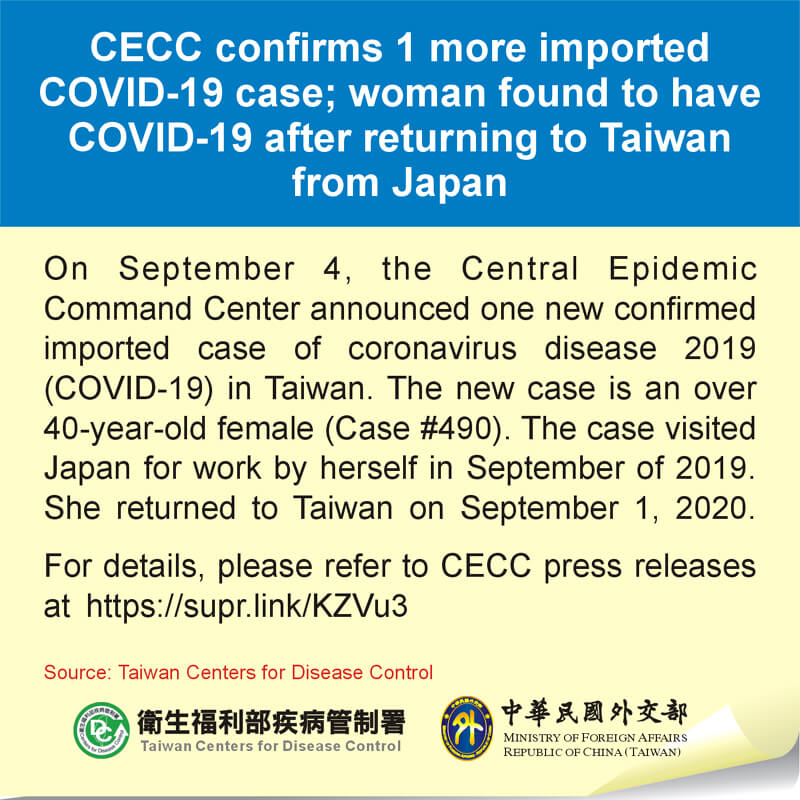 CECC confirms 1 more imported COVID-19 case; woman found to have COVID-19 after returning to Taiwan from Japan