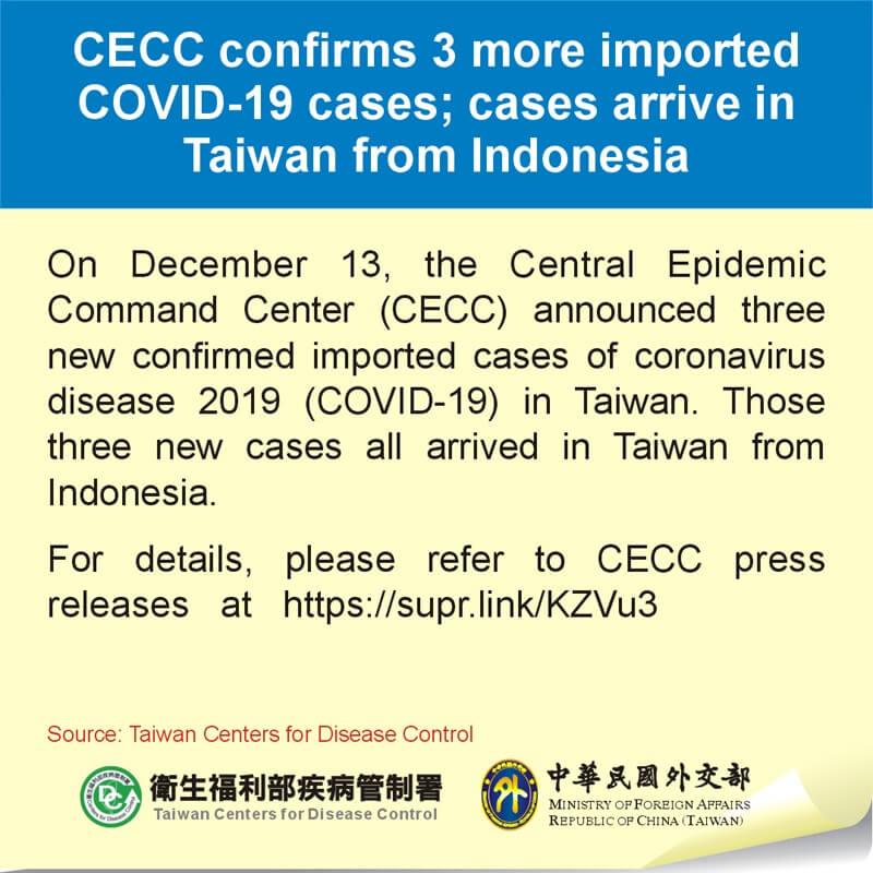 CECC confirms 3 more imported COVID-19 cases; cases arrive in Taiwan from Indonesia