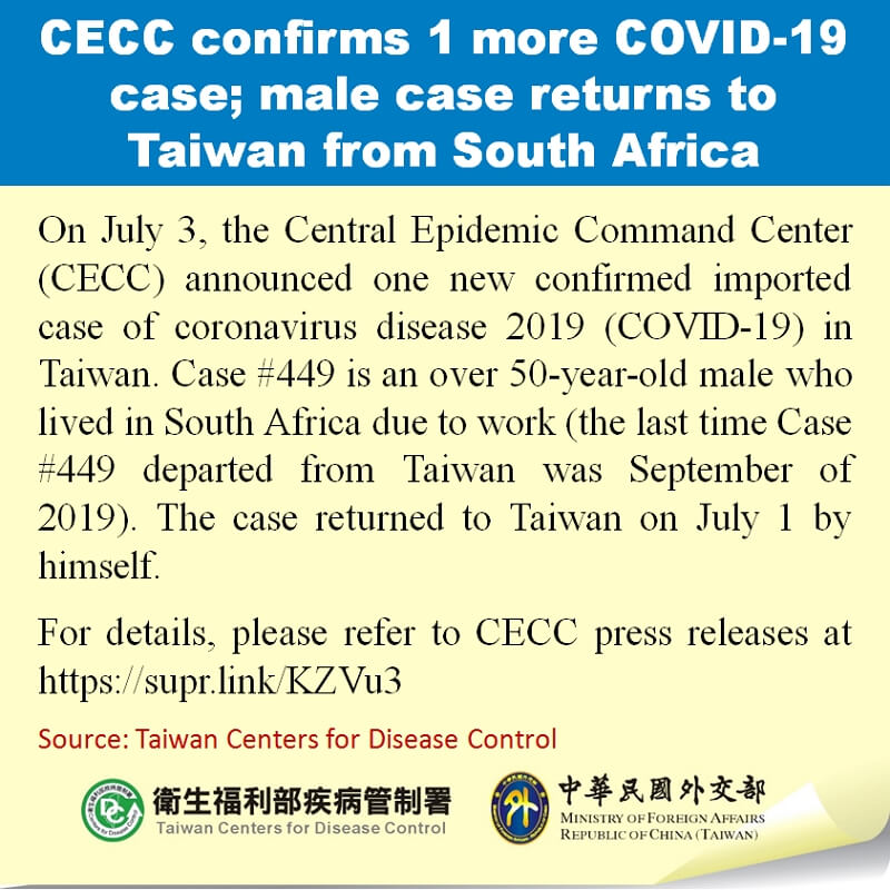 CECC confirms 1 more COVID-19 case; male case returns to Taiwan from South Africa