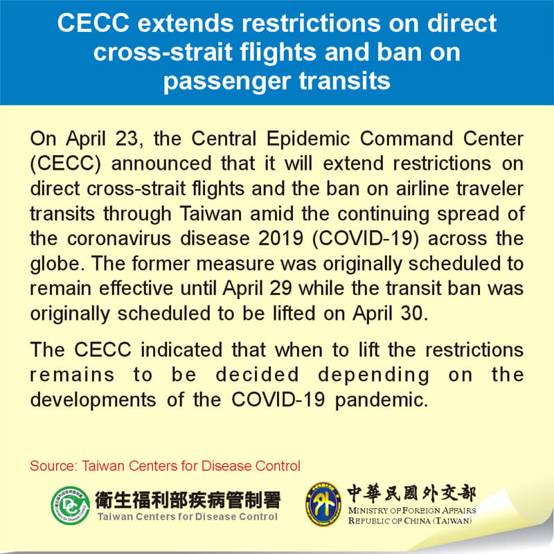 CECC extends restrictions on direct cross-strait flights and ban on passenger transits