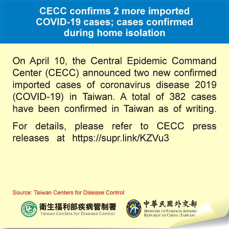 CECC confirms 2 more imported COVID-19 cases; cases confirmed during home isolation