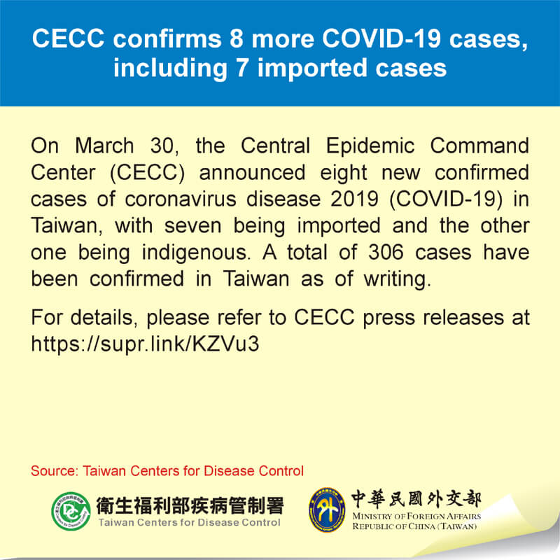 CECC confirms 8 more COVID-19 cases, including 7 imported cases