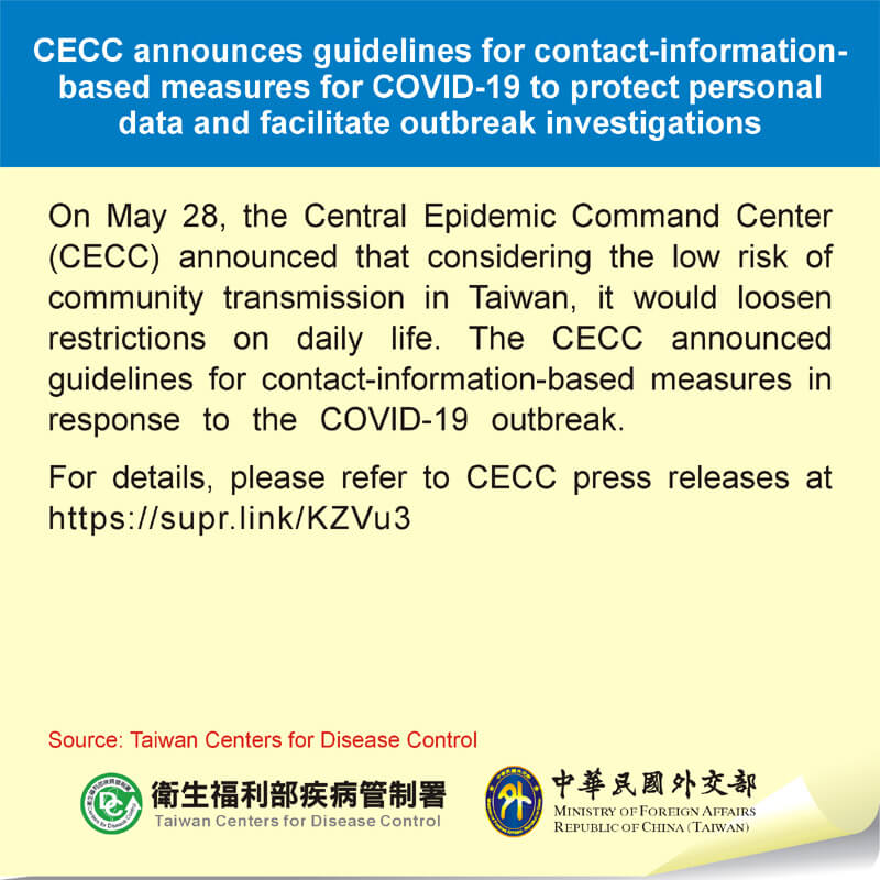 CECC announces guidelines for contact-information-based measures for COVID-19 to protect personal data and facilitate outbreak investigations