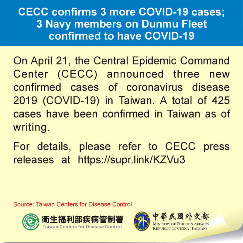 CECC confirms 3 more COVID-19 cases; 3 Navy members on Dunmu Fleet confirmed to have COVID-19