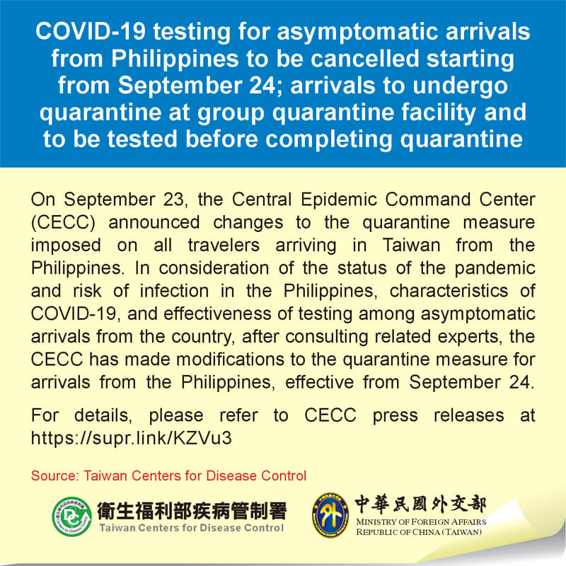 COVID-19 testing for asymptomatic arrivals from Philippines to be cancelled starting from September 24