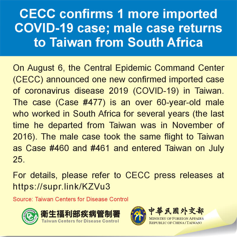 CECC confirms 1 more imported COVID-19 case; male case returns to Taiwan from South Africa