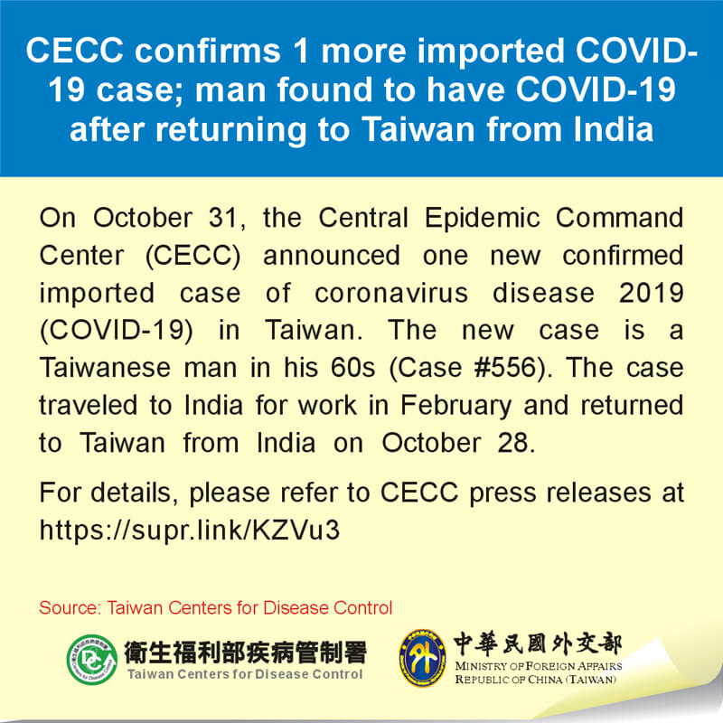 CECC confirms 1 more imported COVID-19 case; man found to have COVID-19 after returning to Taiwan from India