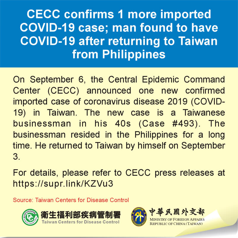 CECC confirms 1 more imported COVID-19 case; man found to have COVID-19 after returning to Taiwan from Philippines