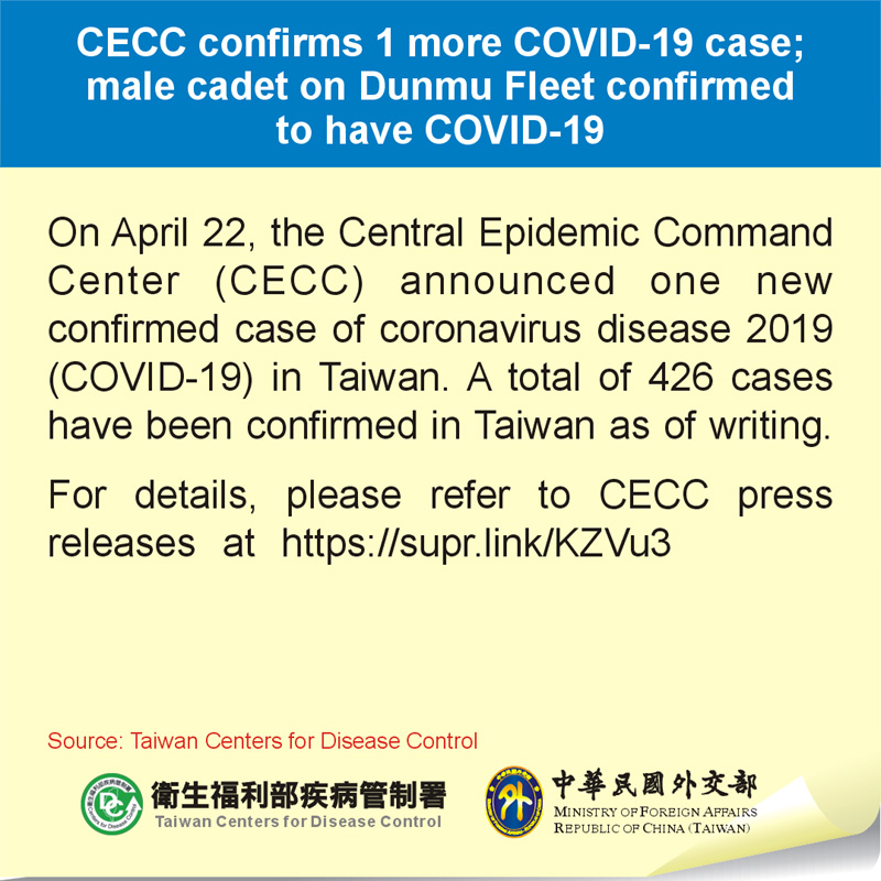 CECC confirms 1 more COVID-19 case; male cadet on Dunmu Fleet confirmed to have COVID-19
