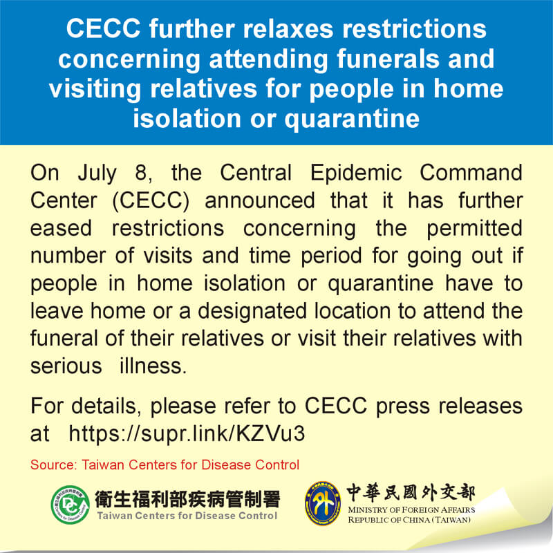 CECC further relaxes restrictions concerning attending funerals and visiting relatives for people in home isolation or quarantine