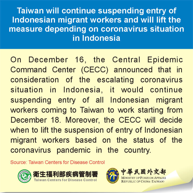 Taiwan will continue suspending entry of Indonesian migrant workers and will lift the measure depending on coronavirus situation in Indonesia