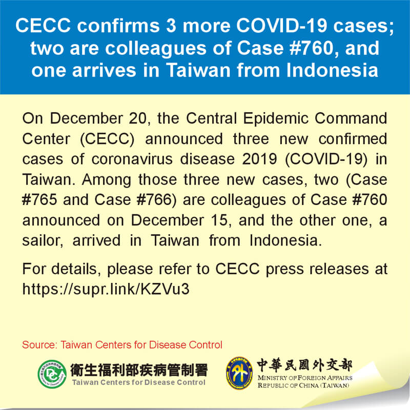 CECC confirms 3 more COVID-19 cases; two are colleagues of Case #760, and one arrives in Taiwan from Indonesia