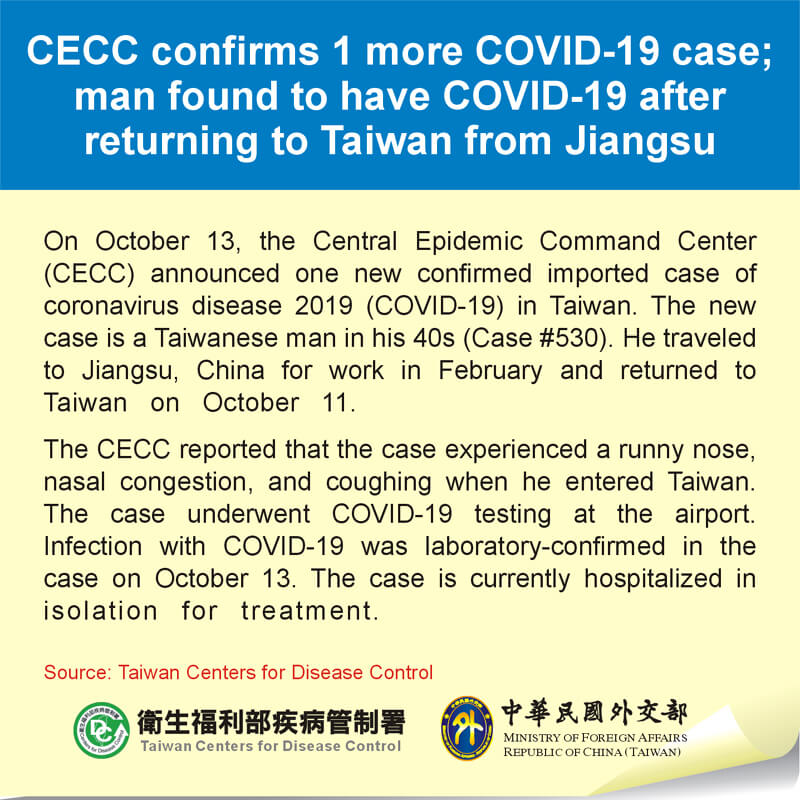 CECC confirms 1 more COVID-19 case; man found to have COVID-19 after returning to Taiwan from Jiangsu