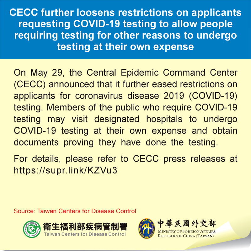 CECC further loosens restrictions on applicants requesting COVID-19 testing to allow people requiring testing for other reasons to undergo testing at their own expense