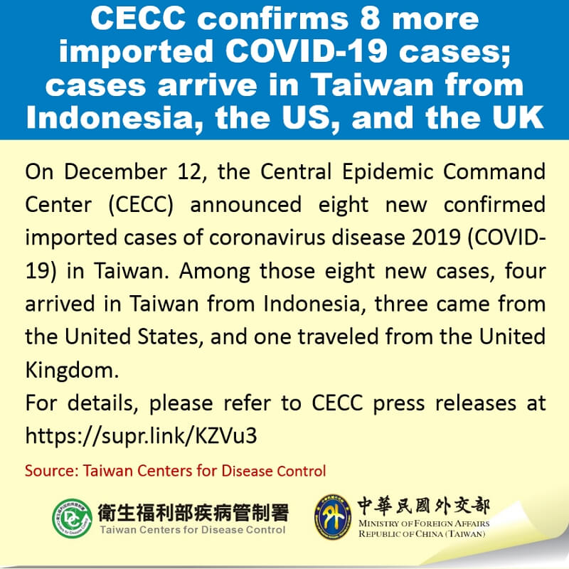 CECC confirms 8 more imported COVID-19 cases; cases arrive in Taiwan from Indonesia, the US, and the UK