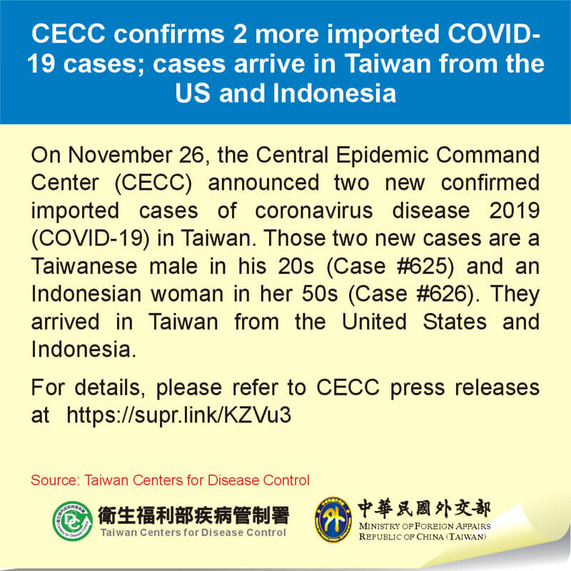 CECC confirms 2 more imported COVID-19 cases; cases arrive in Taiwan from the US and Indonesia
