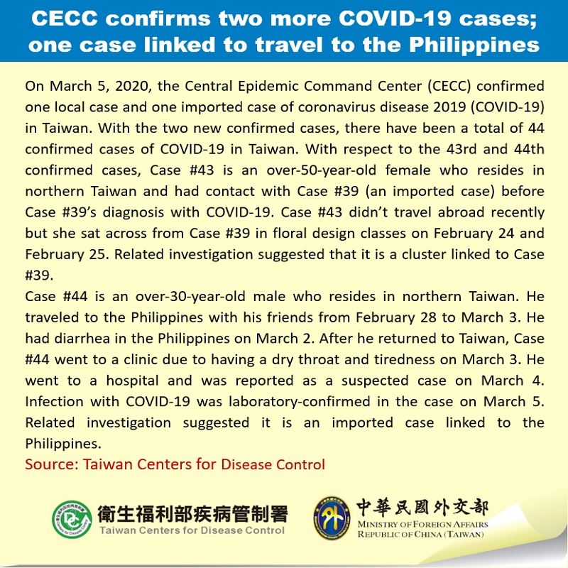 CECC confirms two more COVID-19 cases; one case linked to travel to the Philippines