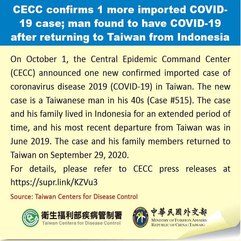 CECC confirms 1 more imported COVID-19 case; man found to have COVID-19 after returning to Taiwan from Indonesia