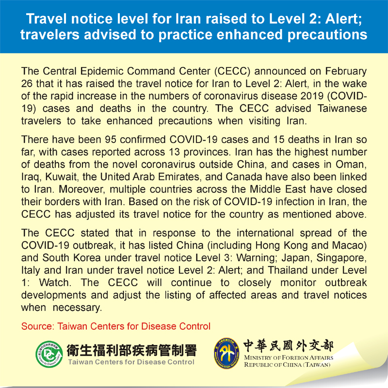 Travel notice level for Iran raised to Level 2: Alert; travelers advised to practice enhanced precautions