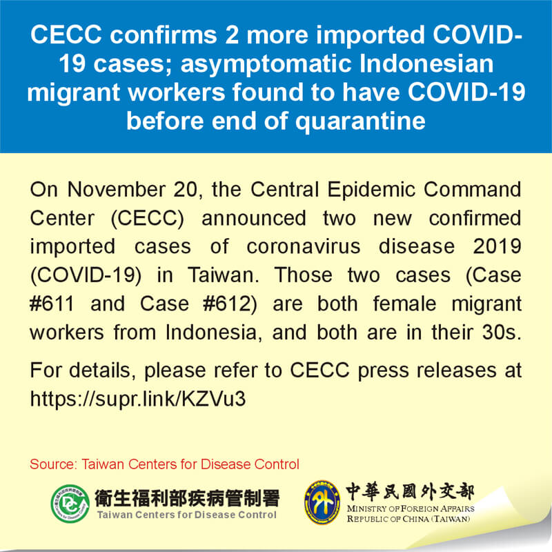 CECC confirms 2 more imported COVID-19 cases; asymptomatic Indonesian migrant workers found to have COVID-19 before end of quarantine