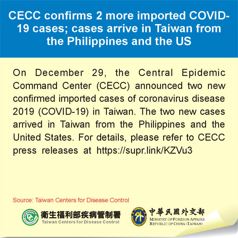 CECC confirms 2 more imported COVID-19 cases; cases arrive in Taiwan from the Philippines and the US