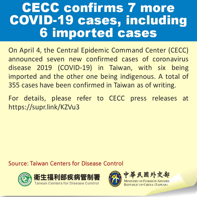 CECC confirms 7 more COVID-19 cases, including 6 imported cases