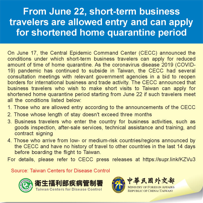 From June 22, short-term business travelers are allowed entry and can apply for shortened home quarantine period