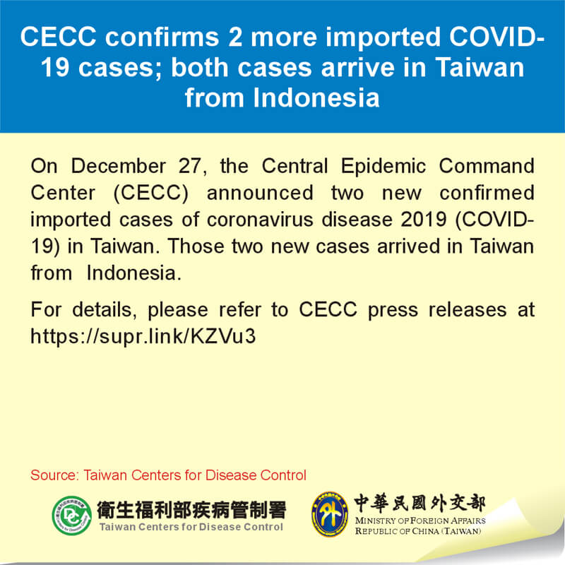 CECC confirms 2 more imported COVID-19 cases; both cases arrive in Taiwan from Indonesia