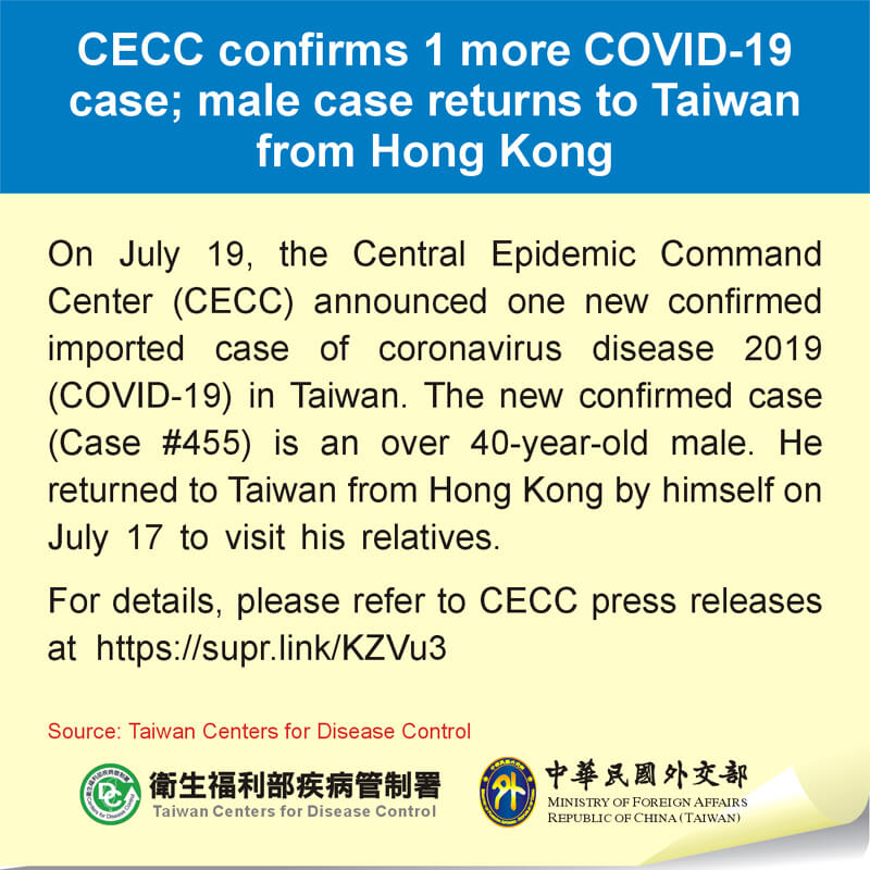 CECC confirms 1 more COVID-19 case; male case returns to Taiwan from Hong Kong