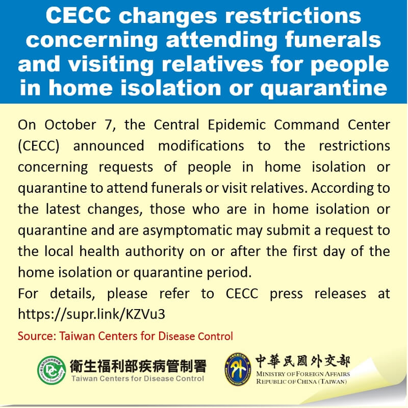 CECC changes restrictions concerning attending funerals and visiting relatives for people in home isolation or quarantine
