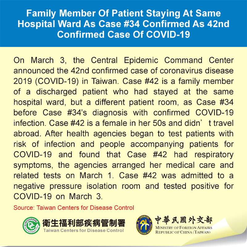 Family Member Of Patient Staying At Same Hospital Ward As Case #34 Confirmed As 42nd Confirmed Case Of COVID-19