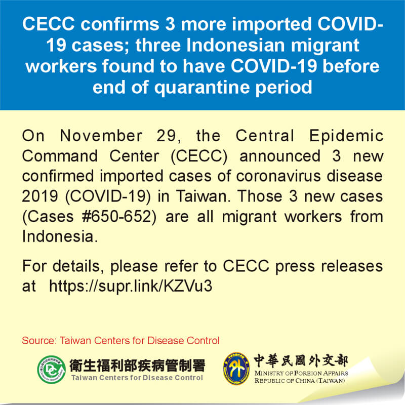 CECC confirms 3 more imported COVID-19 cases; three Indonesian migrant workers found to have COVID-19 before end of quarantine period