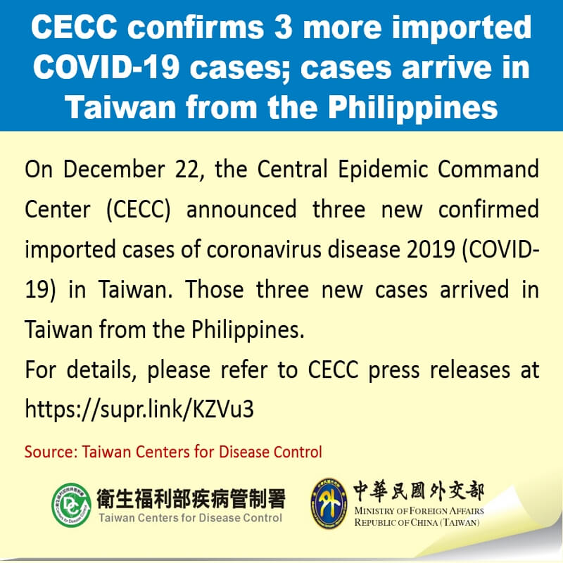 CECC confirms 3 more imported COVID-19 cases; cases arrive in Taiwan from the Philippines