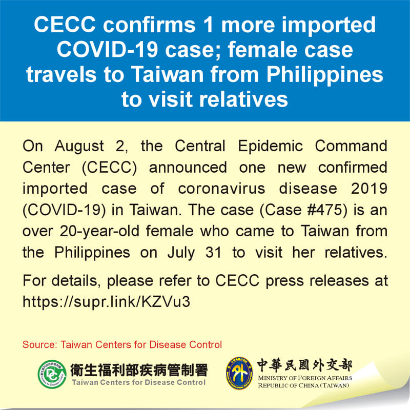 CECC confirms 1 more imported COVID-19 case; female case travels to Taiwan from Philippines to visit relatives