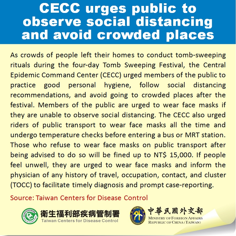 CECC urges public to observe social distancing and avoid crowded places