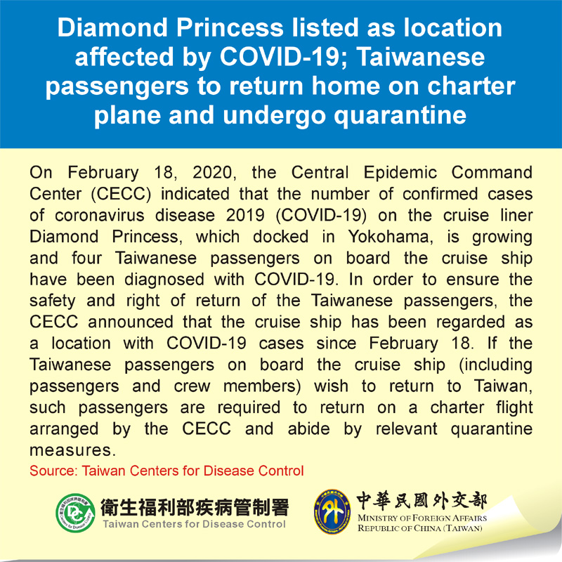 Diamond Princess listed as location affected by COVID-19; Taiwanese passengers to return home on charter plane and undergo quarantine