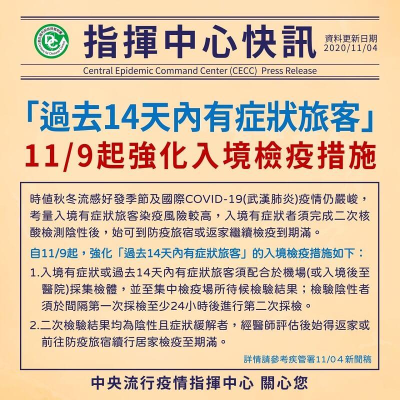 自11月9日起,強化「過去14天內有症狀旅客」的入境檢疫措施