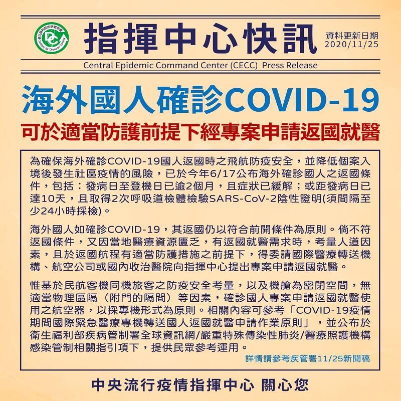 海外國人確診COVID-19,可於適當防護前提下經專案申請返國就醫