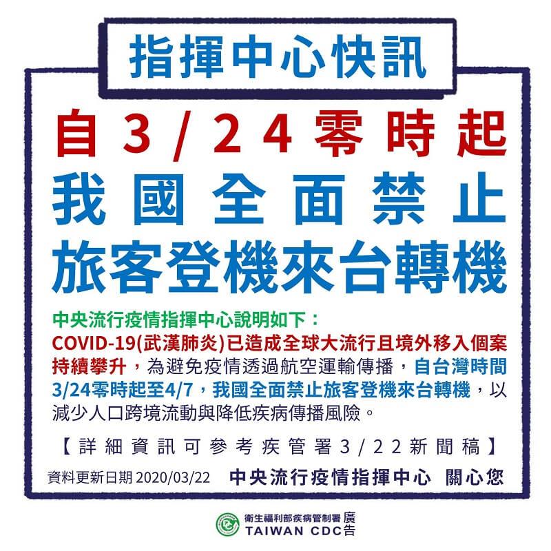 3月24日至4月7日,我國全面禁止旅客登機來台轉機
