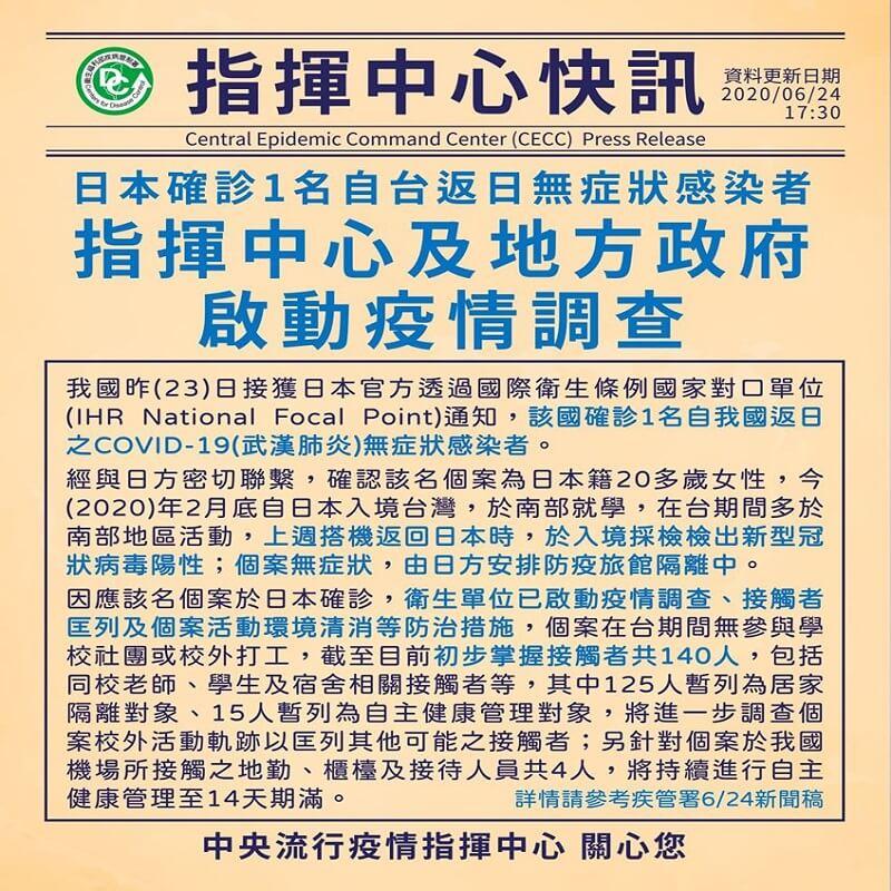 日本確診1名自台返日無症狀感染者,指揮中心及地方政府啟動疫情調查