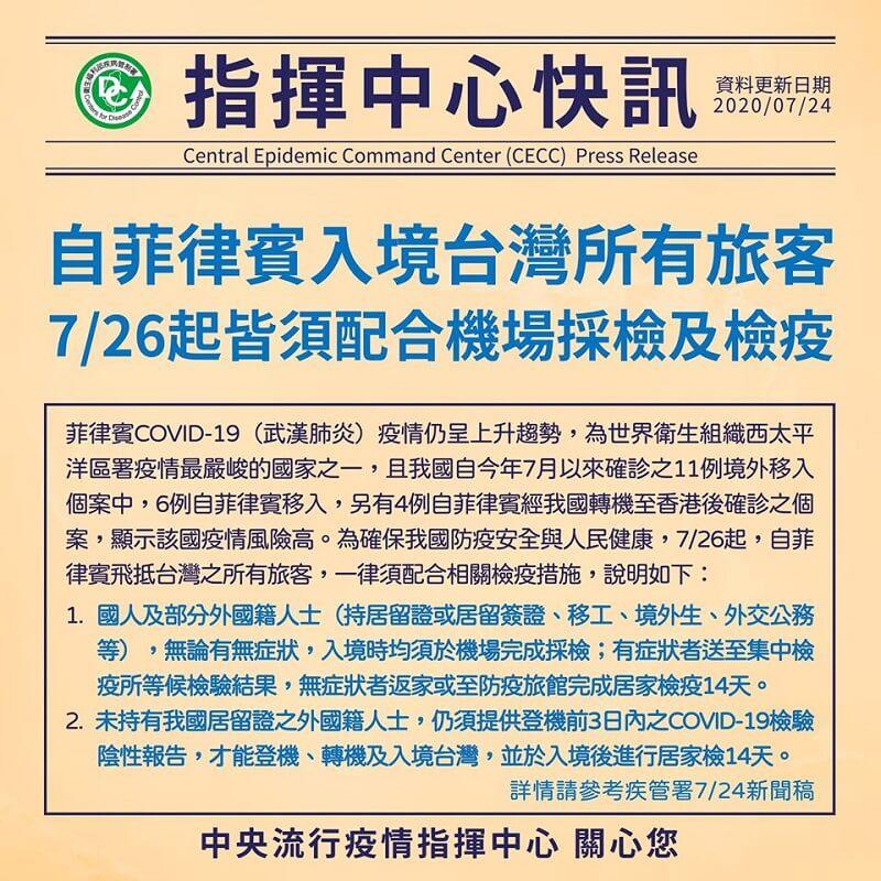 7月26日起,自菲律賓入境台灣之所有旅客,皆須配合機場採檢及檢疫