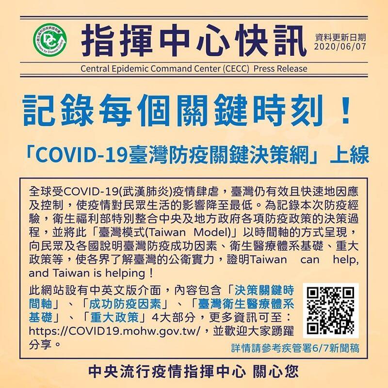 記錄每個關鍵時刻!「COVID-19臺灣防疫關鍵決策網」上線